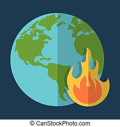 planet and flame global warming icon image
