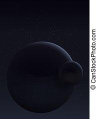 Planet and its satellite. Space landscape. - Interstellar...