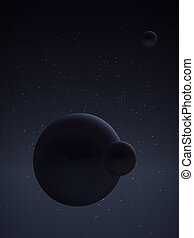 Planet and its satellite. Space landscape. - The principle...