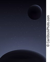 Planet and its satellite. Space landscape. - View from...