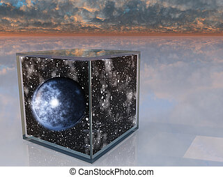 Planet and space inside box in surreal scene