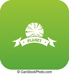 Planet astronomy icon green vector