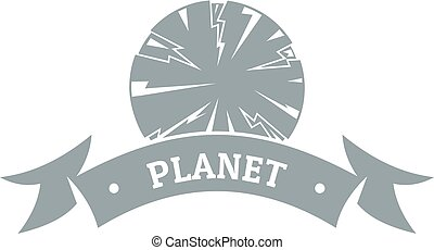 Planet astronomy logo, simple gray style