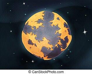 planet, backg, mull, tecknad film, utrymme