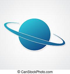 planet, blå, ikon