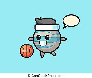 Planet cartoon is playing basketball