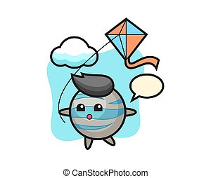 Planet cartoon is playing kite