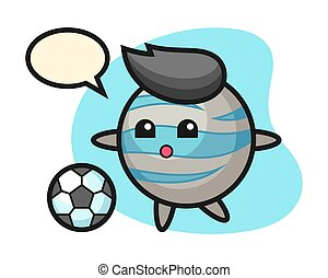 Planet cartoon is playing soccer