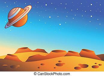 planet, cartoon, landskab, rød