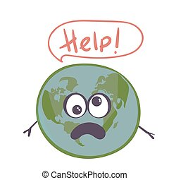 planet character earth globe showing sad, sick face with dark blue ocean and grey continents isolated on white. Vector illustration. Help