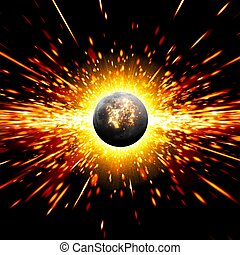 Planet disaster - Abstract scientific background - exploding...