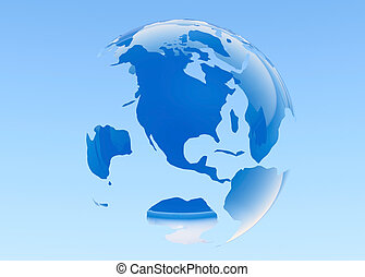 Planet Earth. 3D rendered. Blue background.