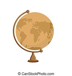Planet earth - ancient school globe on stand. Subject for study of geography. Antique globe, orange and wood
