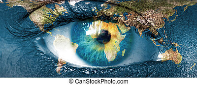"Planet earth and blue hman eye - ""Elements of this image furnished by NASA"""