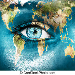 "Planet earth and blue human eye - ""Elements of this image..."