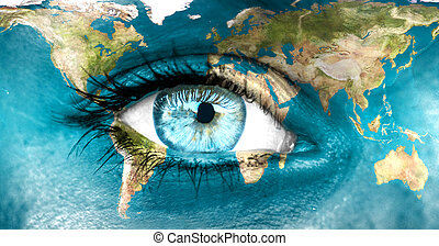 """Planet earth and blue human eye - """"Elements of this image furnished by NASA"""""""