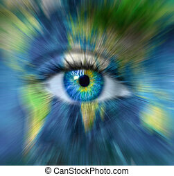 """Planet earth and blue human eye in motion blur - Time passing for Planet Earth concept  - """"Elements of this image furnished by NASA"""""""