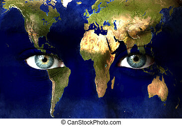 Planet earth and blue human eyes