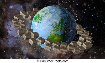 Planet earth and box free shipping - Planet earth around...
