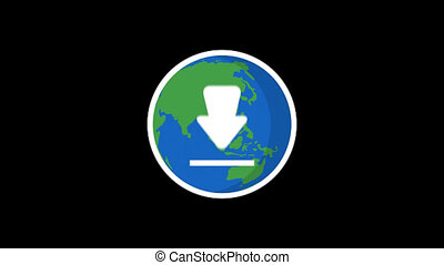 Planet Earth and Download Icon. Motion Graphics. Transparent...