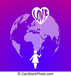 Planet Earth and icon of a woman holding a heart with the word love on bright purple background with stars.