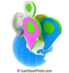 Planet Earth and map pins icon. Earth globe and colorful map labels. Modern graphic elements for web banners, websites, printed materials, infographics. 3d illustration.