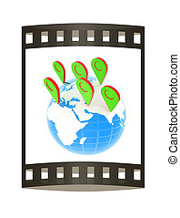 Planet Earth and map pins icon. Earth globe and colorful map labels. Modern graphic elements for web banners, websites, printed materials, infographics. 3d illustration.. The film strip.