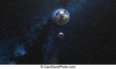 Earth and Moon rotating and spinning in open space