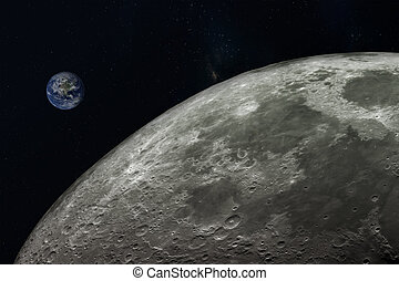 planet Earth and moon,Elements of this image furnished by NASA.