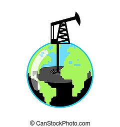 Planet Earth and Pump jack and Oil production. Petrol...