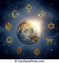 Earth and religious symbols - Planet Earth and religious...