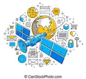 Planet earth and satellite flying orbital flight with icon set, internet activity, online payments, electronic business concept, marketplace or shop, vector design.