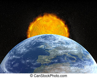 earth and sun - planet earth and sun