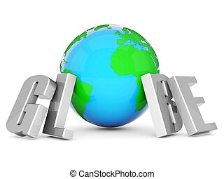 world flags word and earth globe on white background