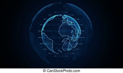 Planet Earth animation. Rotating globe, shining continents with accented edges. Abstract cyber animation of Planet Earth with blue glow. Seamless looping.