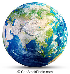 Planet Earth - Asia 3d rendering