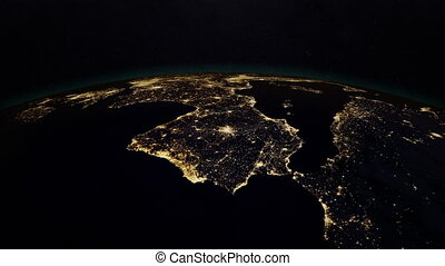 Planet earth at night with space background, 3d rendering....
