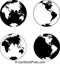 Planet Earth - Beautiful black and white icon planet earth