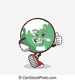 Planet Earth cartoon mascot character making Thumbs up gesture