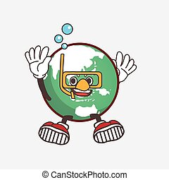Planet Earth cartoon mascot character wearing Diving glasses