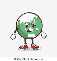 Planet Earth cartoon mascot character with angry face