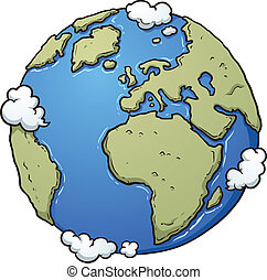 Cartoon planet Earth. Vector clip art illustration with simple gradients. All in a single layer.