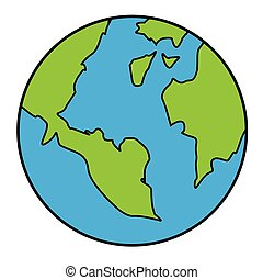 Vector illustration of Planet Earth isolated on white in cartoon style