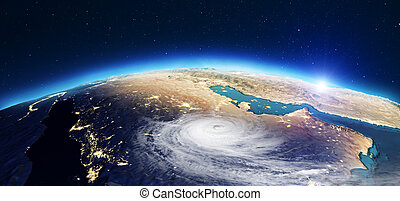 Planet Earth cyclone. 3d rendering