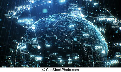 Planet Earth Digital Hologram Made of Dots Rotation in Cyberspace with Network Grid Growing. 3d Animation Futuristic Business and Technology Concept 4k Ultra HD 3840x2160