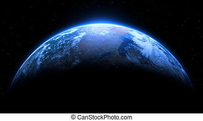 A seamless loop of planet Earth doing a full revolution on a beautiful shimmering star background.