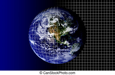 Planet Earth With Grid Mapping