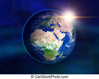 Planet Earth - Illustration of the earth seen from space -...