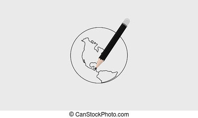 Planet earth drawn in pencil there is an alpha channel, 4k...