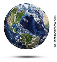 Planet Earth. Earth globe 3d render, maps courtesy of NASA